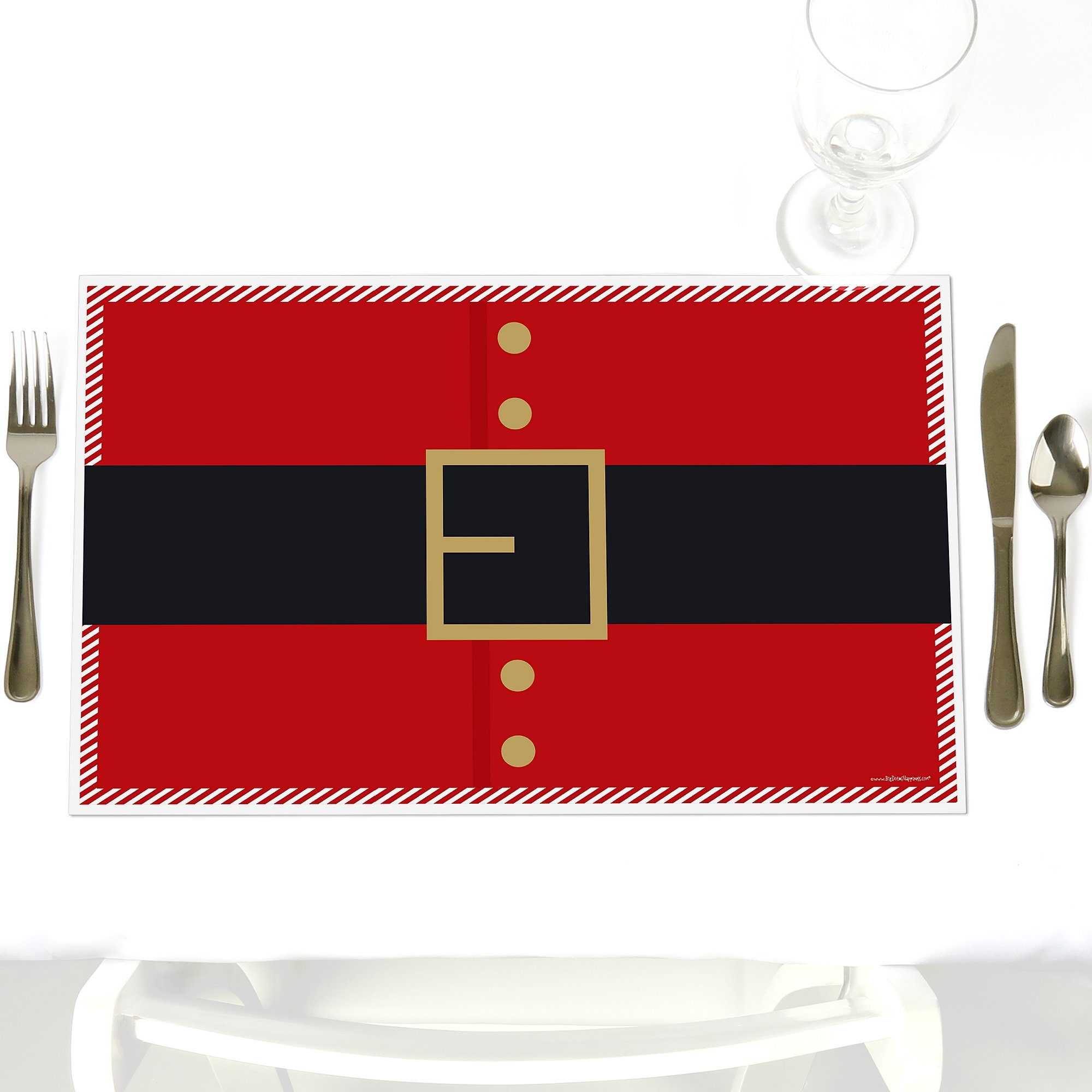Jolly Santa Claus - Party Table Decorations - Christmas & Holiday Party Placemats - Set of 12