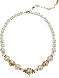 product image for 1928 Jewelry Womens Gold Tone Flower Decal Pearls w Graduated Pearl Strand Necklace, Mutli, 16