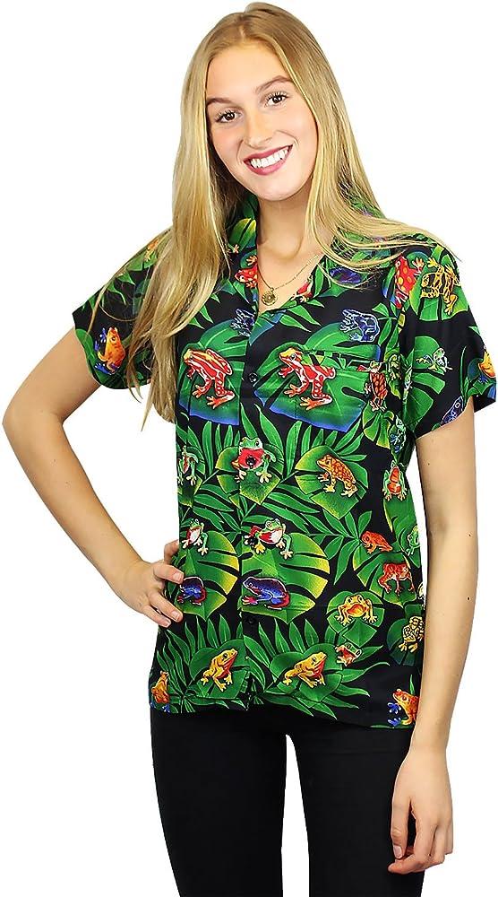 V.H.O. Funky Camisa Hawaiana, Frogs, Black, S: Amazon.es: Ropa y accesorios