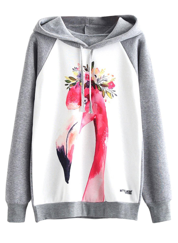 Doballa Women's Garland Flamingo Print Fleece Long Sleeve Pullover Hoodie Sweatshirt Top