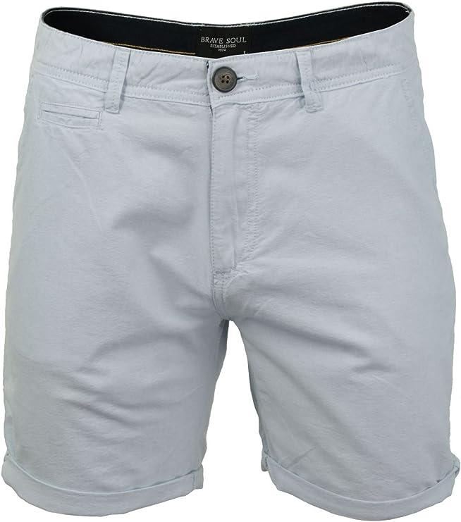 TALLA L. BRAVE SOUL - Pantalones cortos para hombre, tela de algodón Oxford (azul pálido), L