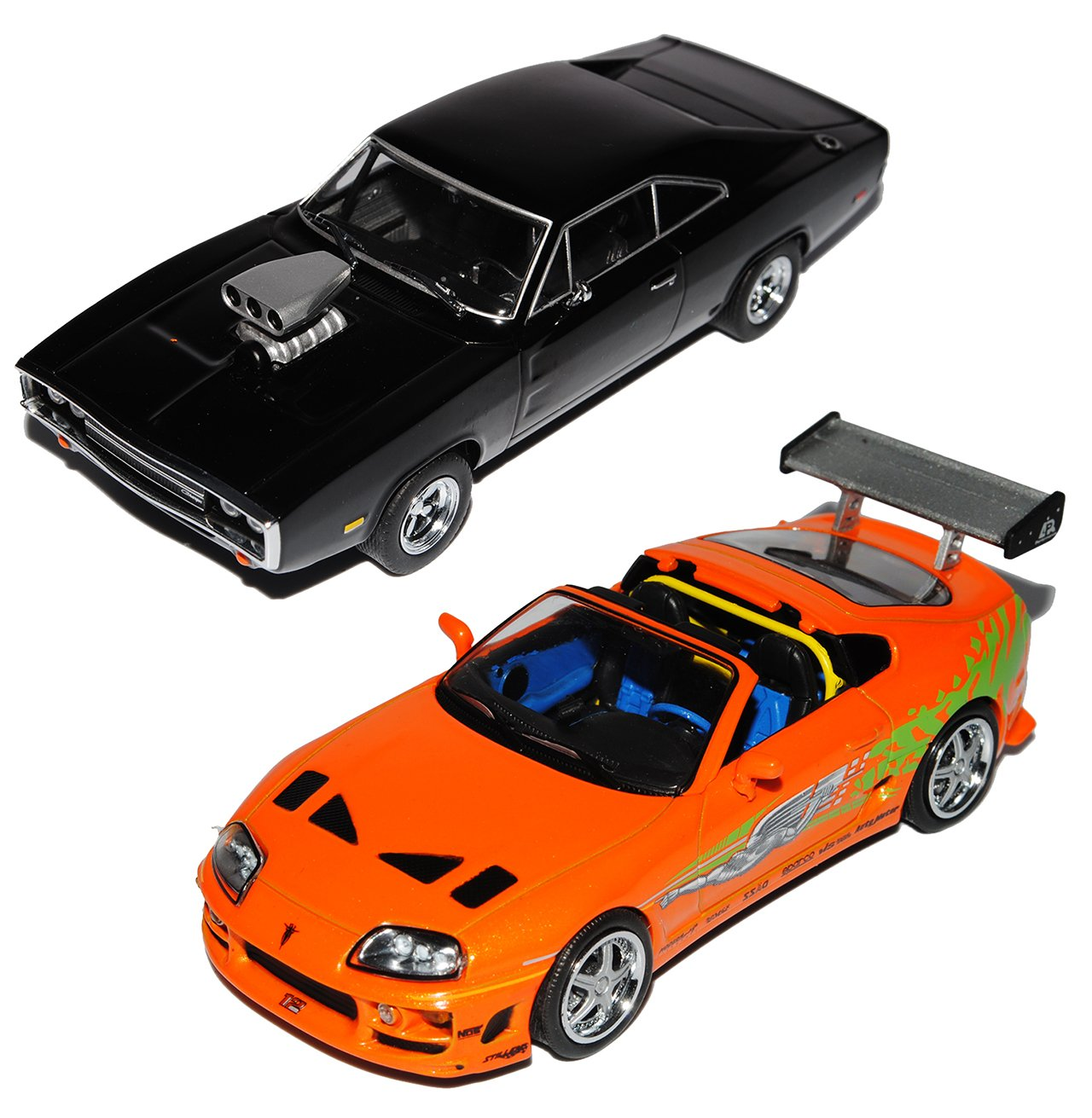 Grünlight Drag Drag Drag Race Toyota Supra MKIV Orange Ab 1993 und Dodge Charger R/T 1970 Coupe Schwarz Dom Vin Diesel Fast and Furious 2001 1/43 Modell Auto mit individiuellem Wunschkennzeichen 189646