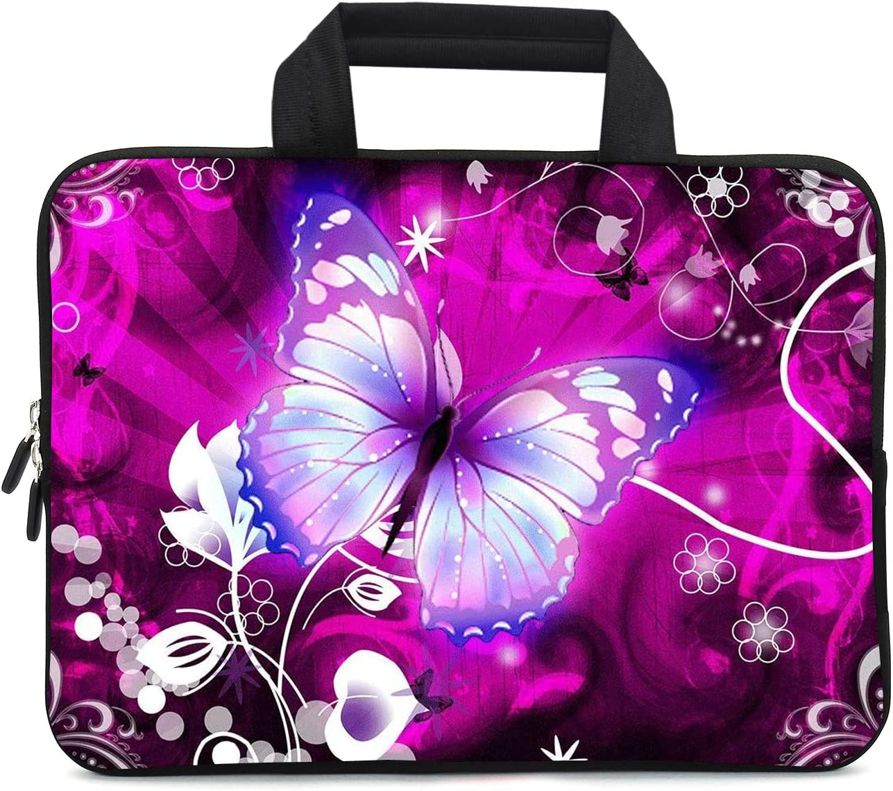 XMBFZ 11.6 12 12.1 Inch Laptop Carrying Bag Protective Chromebook Case Pouch Netbook Notebook Ultrabook Bag Tablet Sleeve Cover Travel Briefcase with Handle for Men Women (Butterfly)