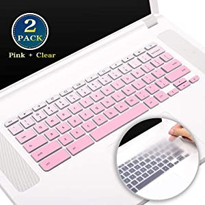2 Pack Acer Chromebook 14 Keyboard Cover for Acer Chromebook 15 CB5-571 CB3-532 CB3-531 Series, Acer Chromebook Spin 15 CP315 Series Keyboard Skin Protector(Ombre Pink+Clear)
