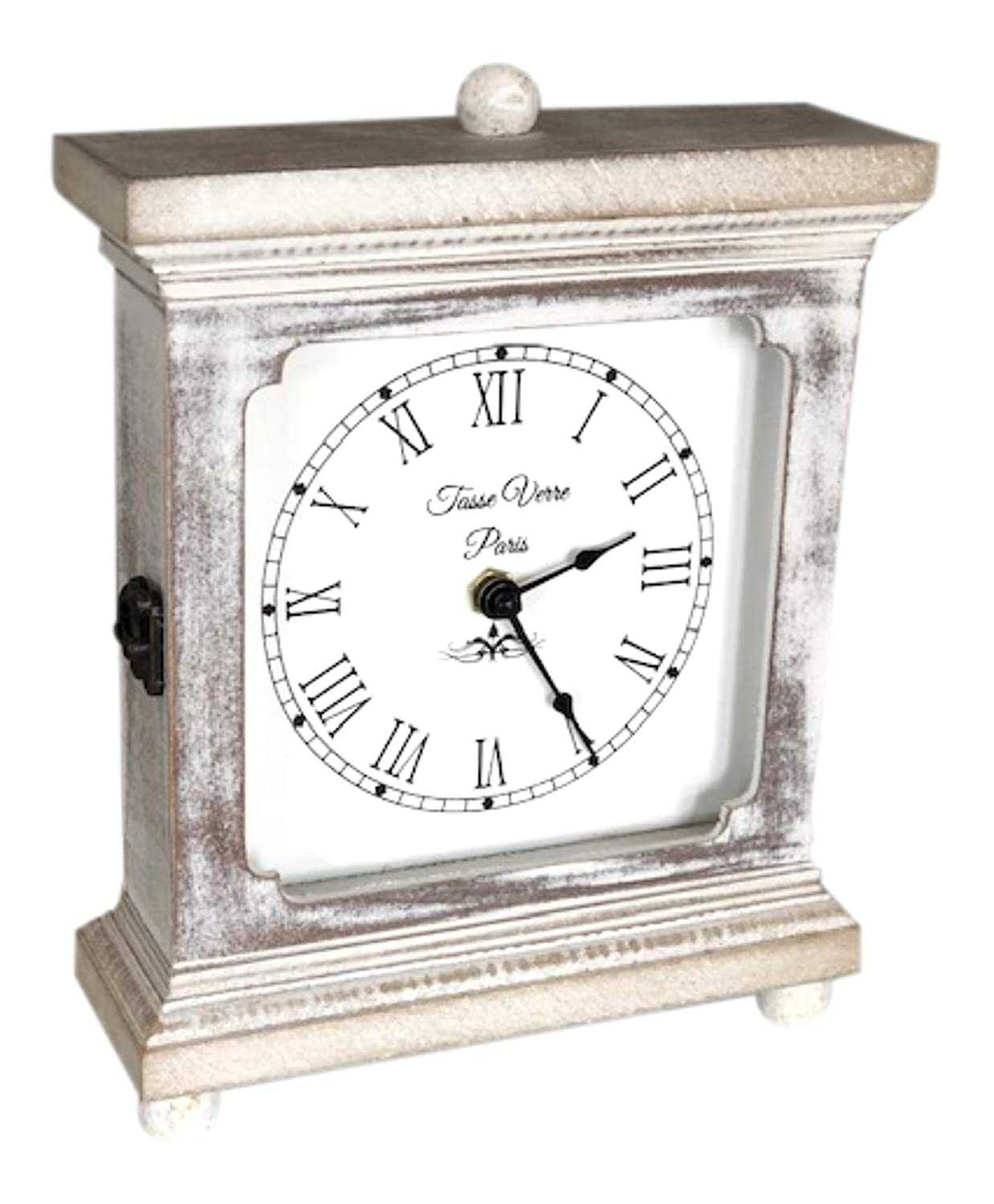"Rustic Wood Clock for Shelf Table Or Desk 9""x7"" - Farmhouse Decor Distressed White Washed Mechanical Powered for Office, Bedroom Fireplace Mantel Living Family Room. AA Battery Operated Non-Digital"
