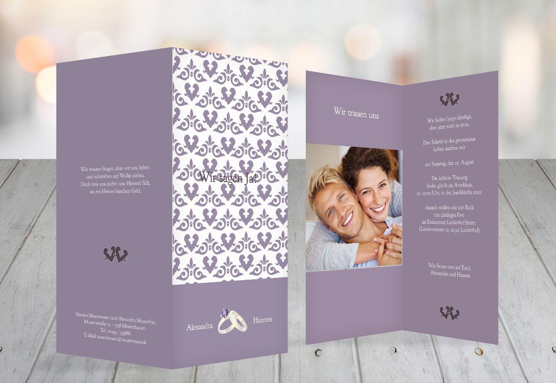 Kartenparadies Hochzeitskarte Einladung Ornament mit Herz, hochwertige Einladung zur Heirat Heirat Heirat inklusive Umschläge   10 Karten - (Format  105x215 mm) Farbe  Rosadunkellila B01N5QTHMQ | Sorgfältig ausgewählte Materialien  | Zu einem niedrigeren Preis   3ae3d7