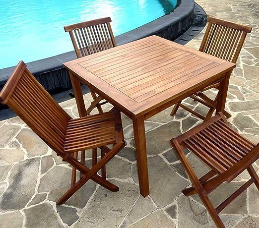 Wood-en-Stock Conjunto Mesa de Teca Cuadrado 90 cm con 4 sillas de ...