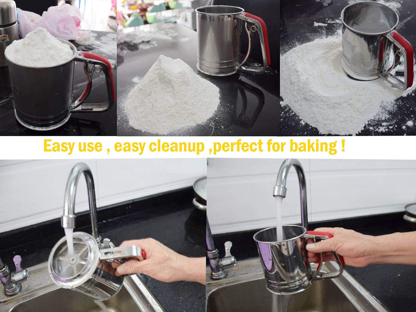 Kitchen aid Flour Sifter One Hand with 3 sifter meshes 3 Cup for Baking by YongLy (Image #5)