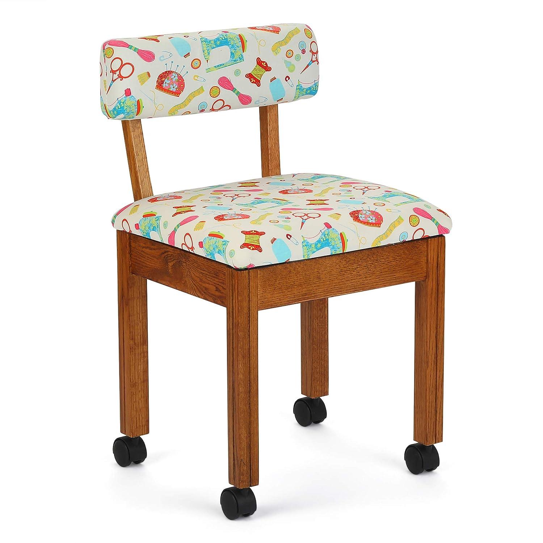 Arrow Sewing Chair White Riley Blake fabric on Oak 7000W