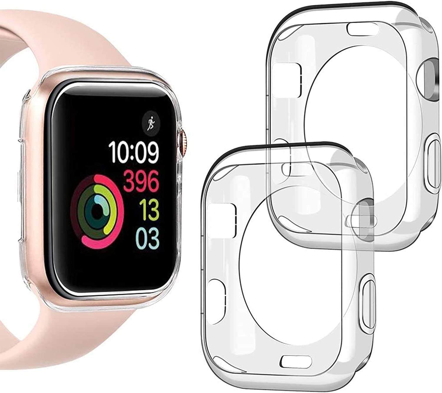 Goton Compatible iWatch Apple Watch Case 38mm Series 3 2 1, (2 Packs) Soft TPU Shockproof Case Cover Bumper Protector (Clear and Clear, 38mm)