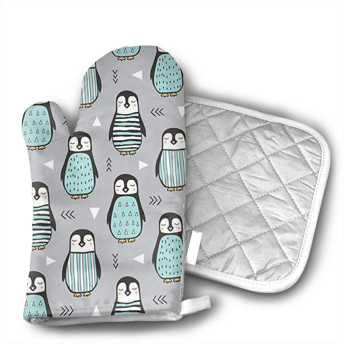 Xayeu Penguins with Sweater Geometric Baking Anti-Hot Gloves Oven Microwave Mitts Pot Holder Mat