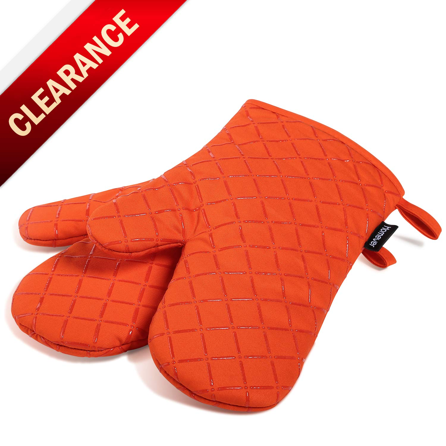 Non-Slip Cotton Quilted Kitchen ... Dualeco Heat Resistant Silicone Oven Gloves