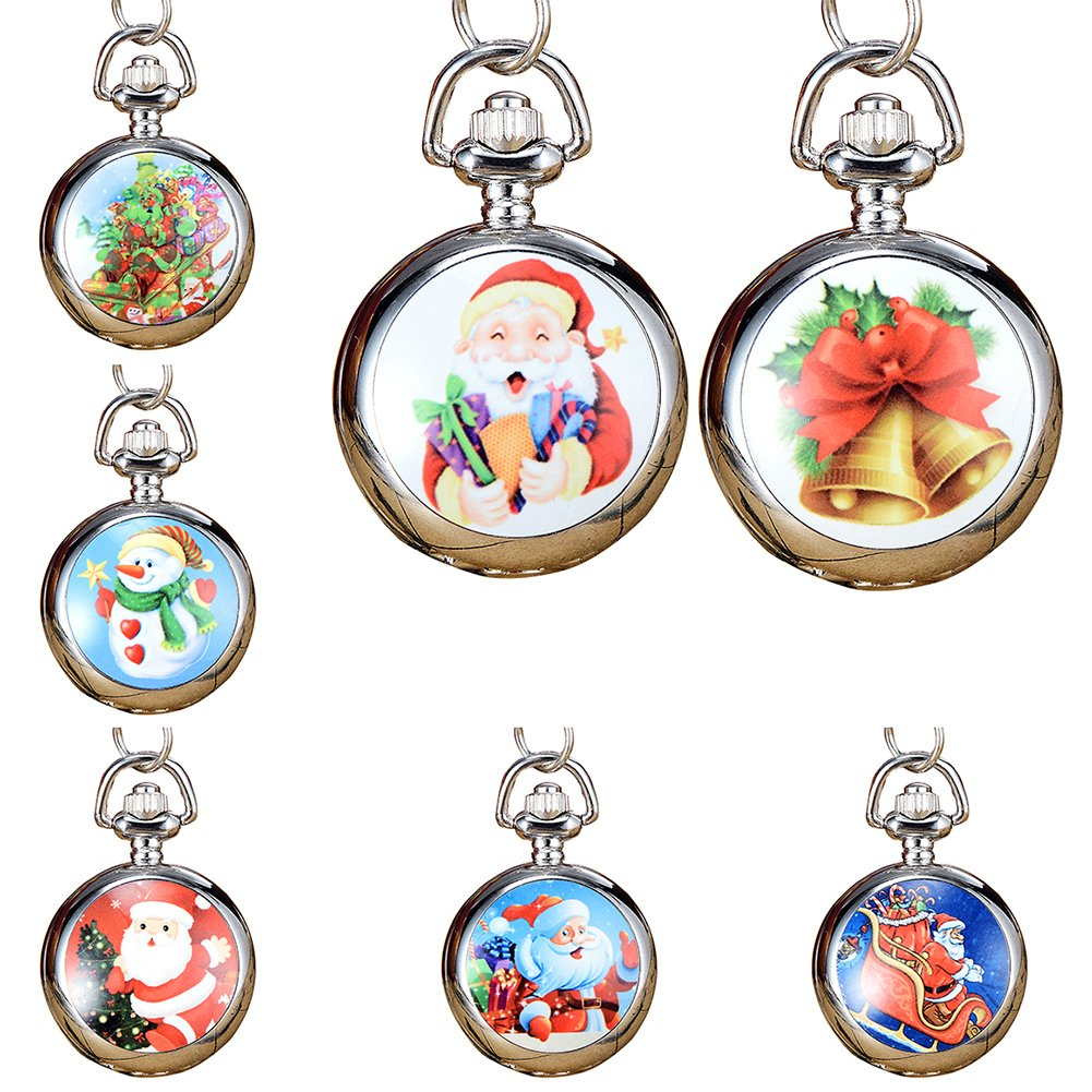 Snowman Christmas Tree Santa Claus Xmas Child Fancy Party Pocket Watch Gift by Gaweb (Image #4)