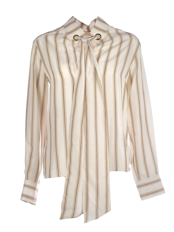 Chloé Women's CHC19SHT5733195F Beige White Silk Shirt