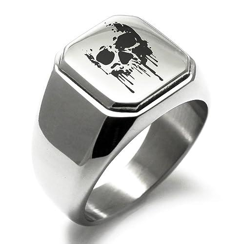 Stainless Steel Hades Greek God Of Underworld Symbol Engraved Square