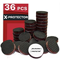 X-Protector Grippers Premium 36 pcs 1 Best Non Slip Pads Rubber Feet Floor Keep in Place Furniture Stoppers, Black