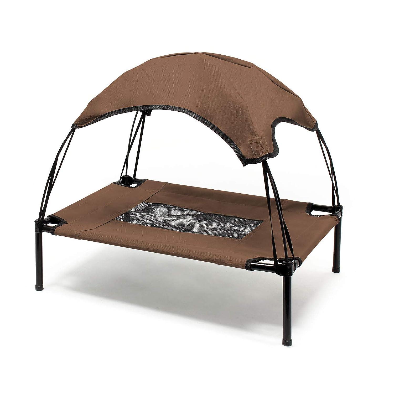 WilTec Transat Chien Marron 76x60x16cm 40kg Max Lit Relaxant sur/élev/é Animal Domestique Protection Soleil M