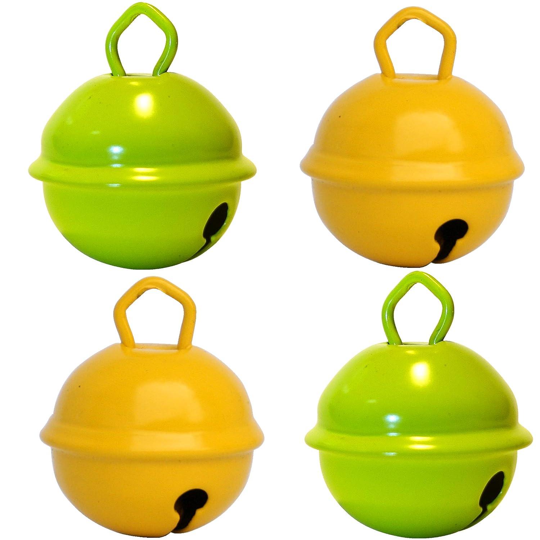 Gros cascabeles manualidades 2 amarillo + 2 verde lima (X 4 cascabeles de 25 mm) latón macizo: Beau sonido + NE herrumbre pas - musikid cascabeles gigantes ...