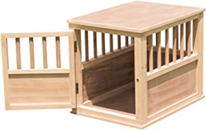 Dog Crate Kennel Bed Night Stand End Table Wood Furniture Living Room Medium Size Can Paint and Stain (26.3 in. L x 19.7 in. W x 21.6 in. H, Wood)