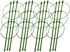 I-Choice Plant Support Cages 18 Inches Plant Cages Triple Plastic Pillar Vine Plants Holder Stand Small Pot Plant Trellis with 3 Adjustable Rings for Home Garden Balcony(Pack of 4)