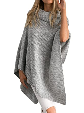 Womens Autumn Plus Size Turtleneck Batwing Sleeve Knitted Ponchos