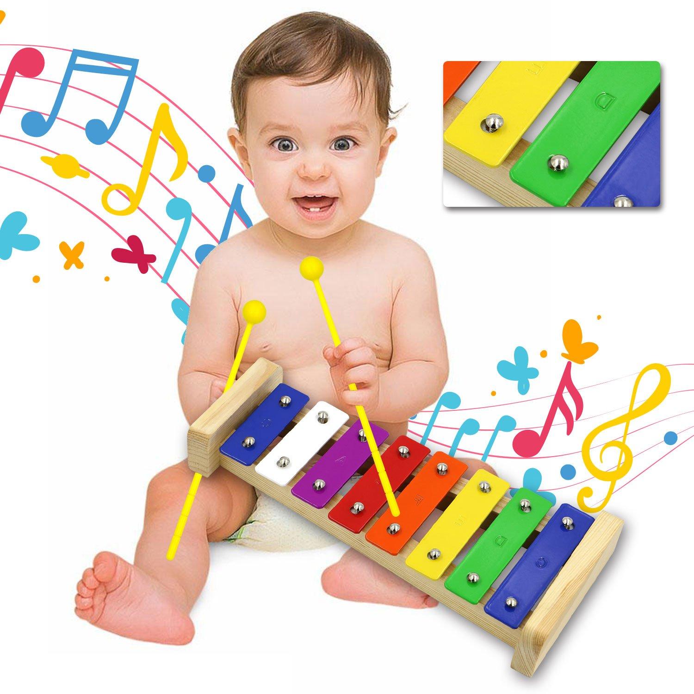 DigHealth Xylophone Bois pour Enfant Billets en M/étal et 4 Maillets en Plastique 8 Note Jouet Xylophone pour B/éb/é Glockenspiel Instrument pour Cadeau Enfant No/ël Anniversaire Toussaint