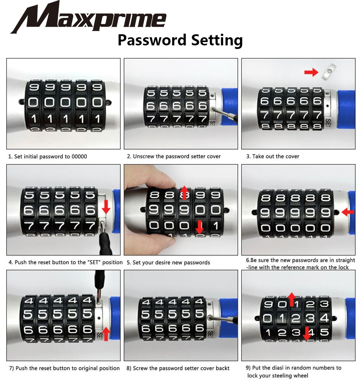 MAXXPRIME Steering Wheel Coded Lock, Keyless Password Coded Twin Hooks Extendable Retractable Heavy Duty Anti Theft Steel with 5 Digit Combination Locks by MAXXPRIME (Image #5)