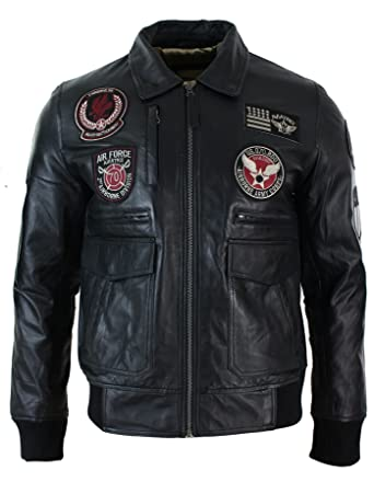 73735ce6ecb Mens Real Leather Black Bomber Badge Air Force Pilot Flying Jacket  Amazon. co.uk  Clothing