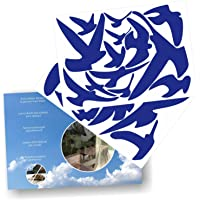 Decooo.be Anti-Collision Stickers to Prevent Bird Strikes on Window Glass - Set of 17 Silhouettes - Color Dark Blue - Window Decals