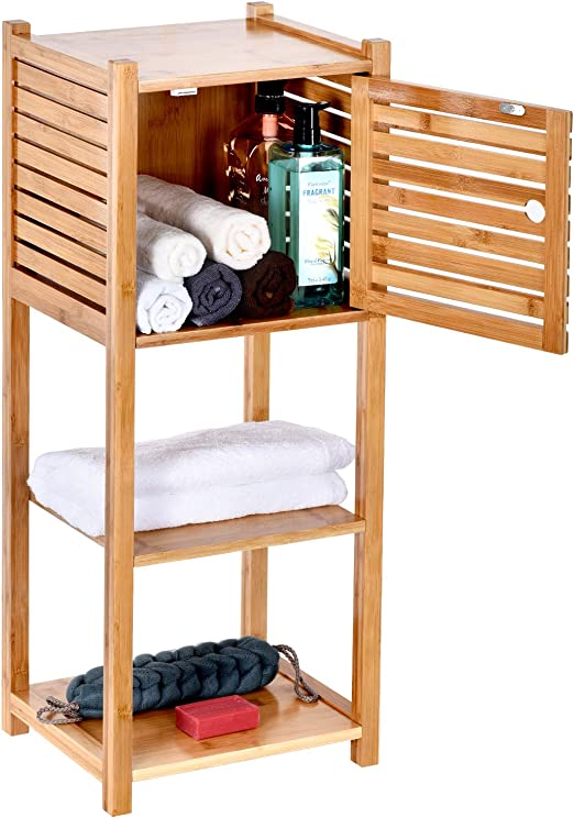 Amazon Com Toilettree Products Bamboo Bathroom Storage Cabinet Freestanding Wooden Organizer Shelf For Bathroom Bedroom 3 Tier Storage Multifunctional Cabinet Kitchen Dining