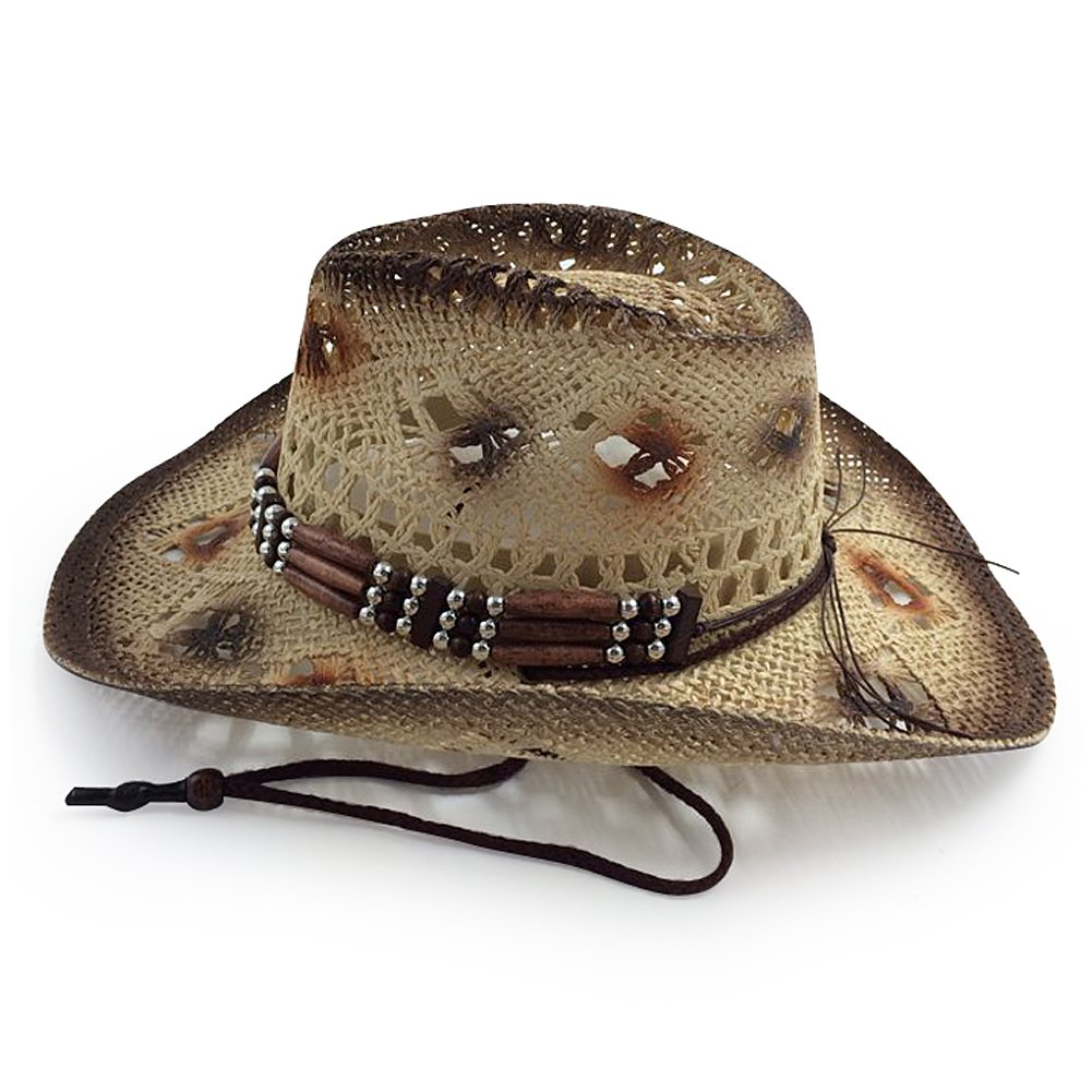 brown1 Mens /& Womens Western Classic Cowboy Straw Hat