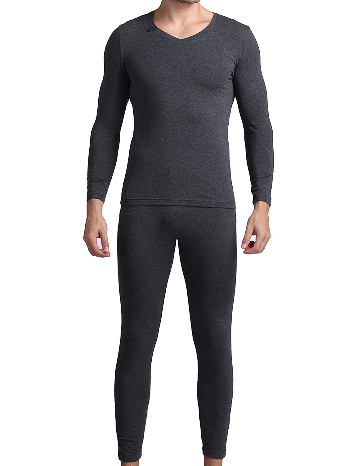 Godsen Men's 2pc Thermal Underwear Set Long John Pants and Tops Carbon Grey) GMW9005