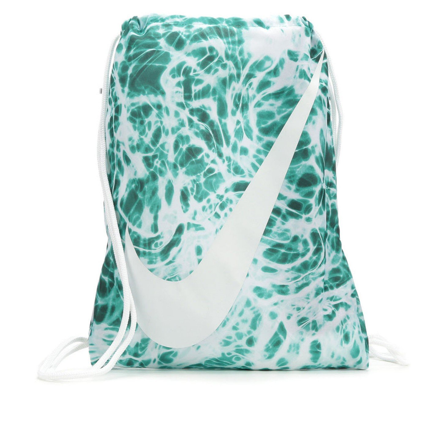 NIKE Young Athlete Drawstring Gymsack Backpack Sport Bookbag (Emerald Splash Graphics/White Signature Large Brand Name Logo and Swoosh)
