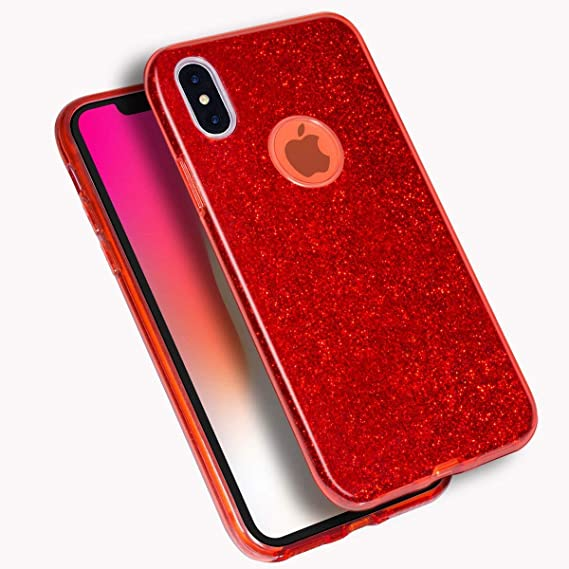 release date: 694e5 73d7b MATEPROX iPhone Xs Case,iPhone X Case Shining Glitter Crystal Bling  Protective Cute Case Compatible with iPhone Xs/X -Red