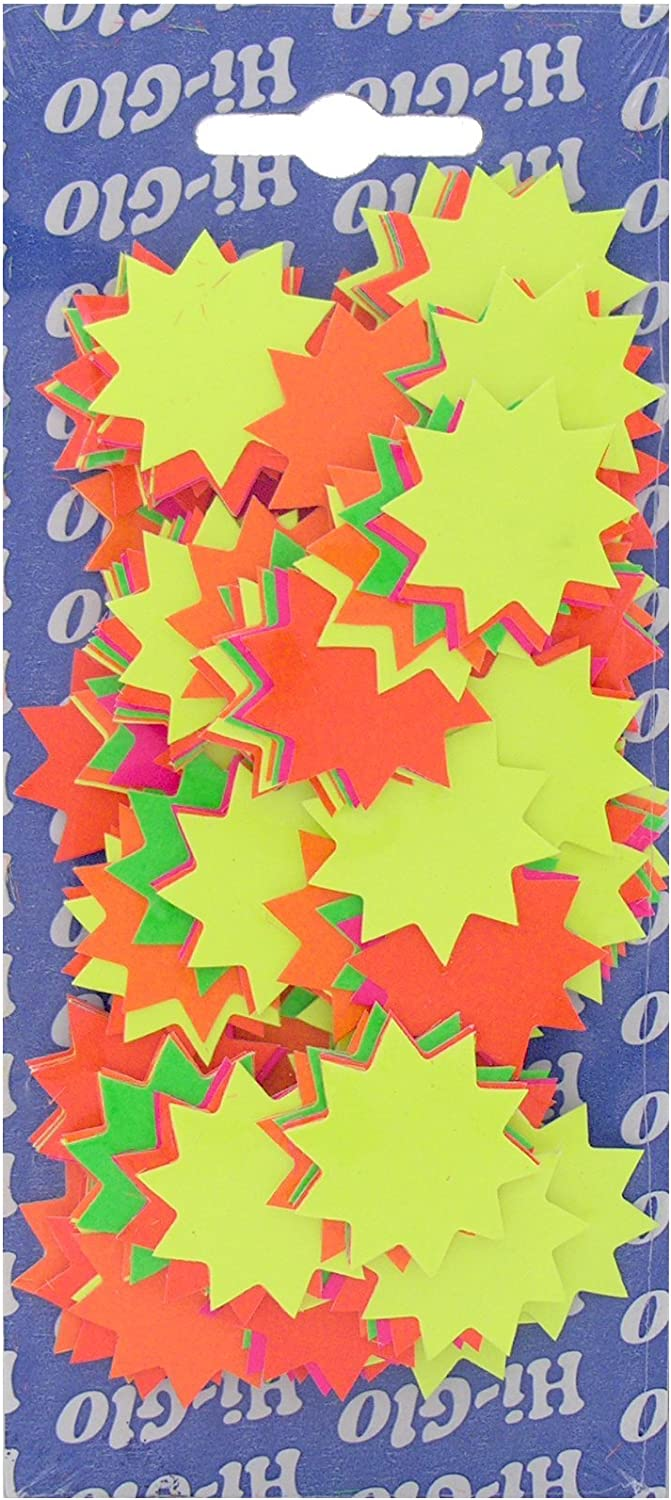 60 x MIXED FLUORESCENT STAR Flashe Cards Sign Display Neon Glow Price Tag Hi Viz