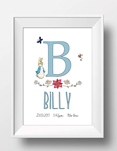 New Baby Gift Peter Rabbit Baby Personalised New Baby Boy Or Girl Print Christening Baptism Gift Unframed A5 Or A4