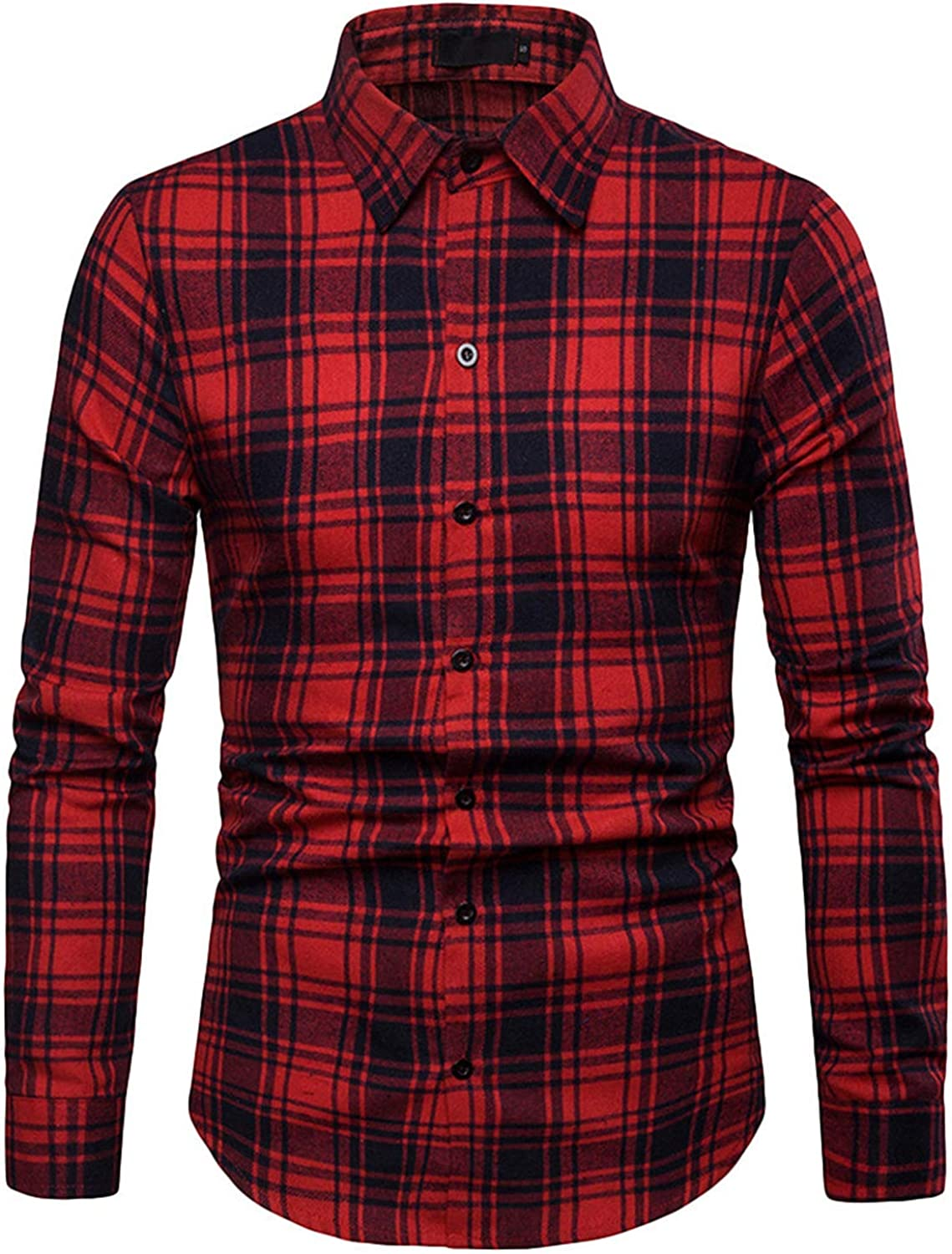 Mens Blouse Autumn Winter Style Tops Small Lattice Business Casual Long Sleeved Shirt for Mens,Black,S,United States