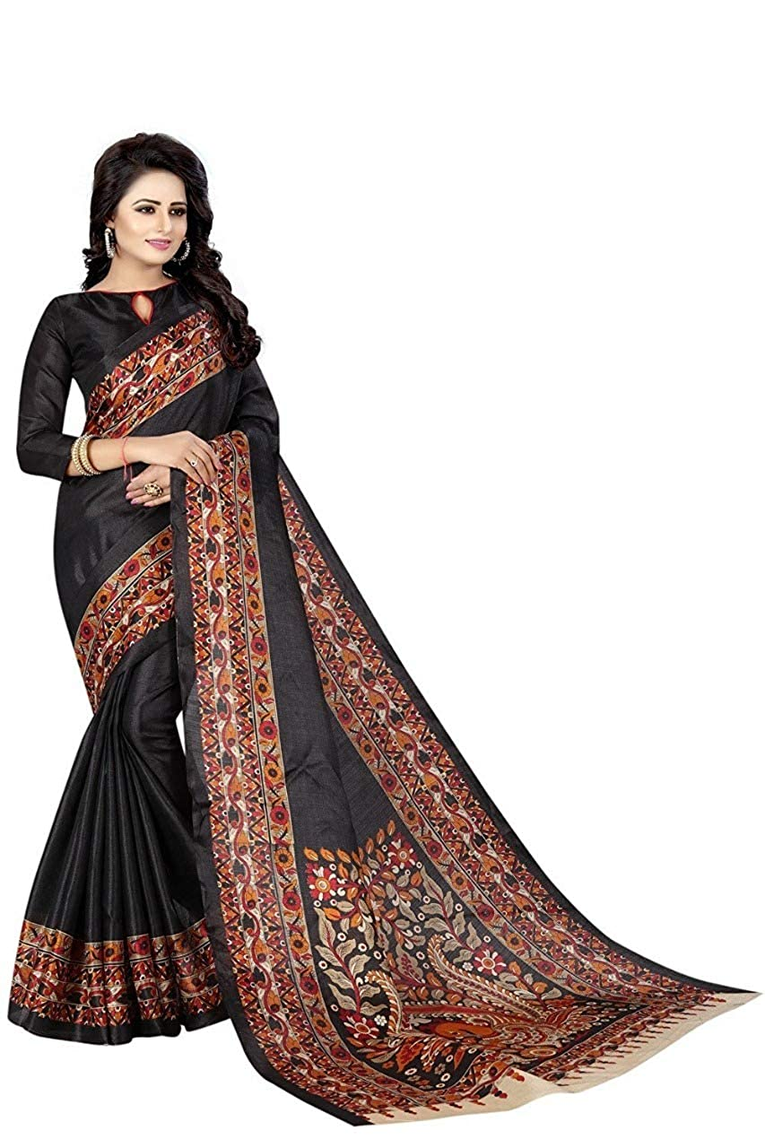 Floral Trendz Womens Khadi Silk Art Desiner Printed Saree With Blouse Piece.