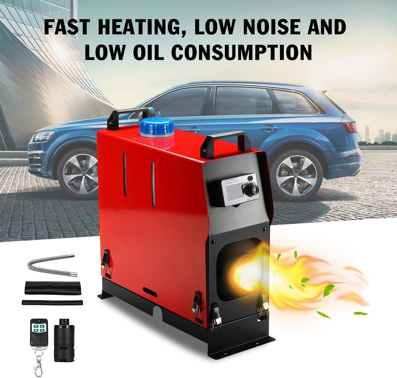 Happybuy 5KW Diesel Air Heater Muffler Diesel Heater 12V Diesel Parking Heater Remote Control with LCD Switch for Car Trucks Motor-Home Boat and Bus