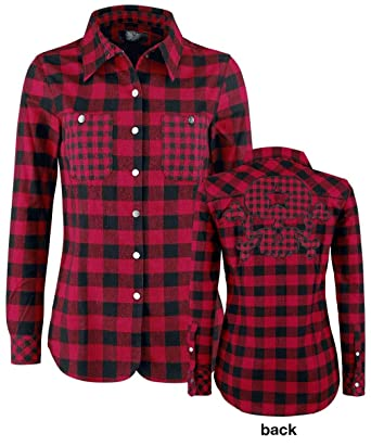 Rock Rebel by EMP Checkered Skull Application Shirt Chemise Femme Rouge Noir  L 78baff3975fb