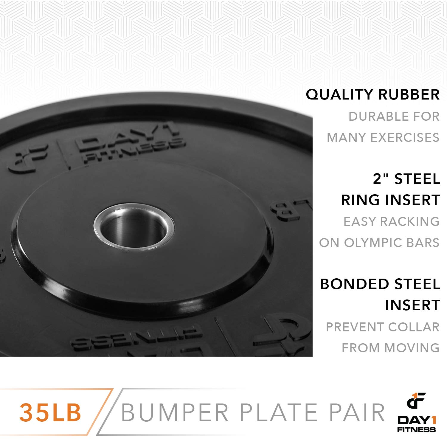 "Day 1 Fitness Olympic Bumper Weighted Plate 2"" for Barbells, Bars – 35 lb Set of 2 Plates - Shock-Absorbing, Minimal Bounce Steel Weights with Bumpers for Lifting, Strength Training, and Working Out by Day 1 Fitness (Image #5)"