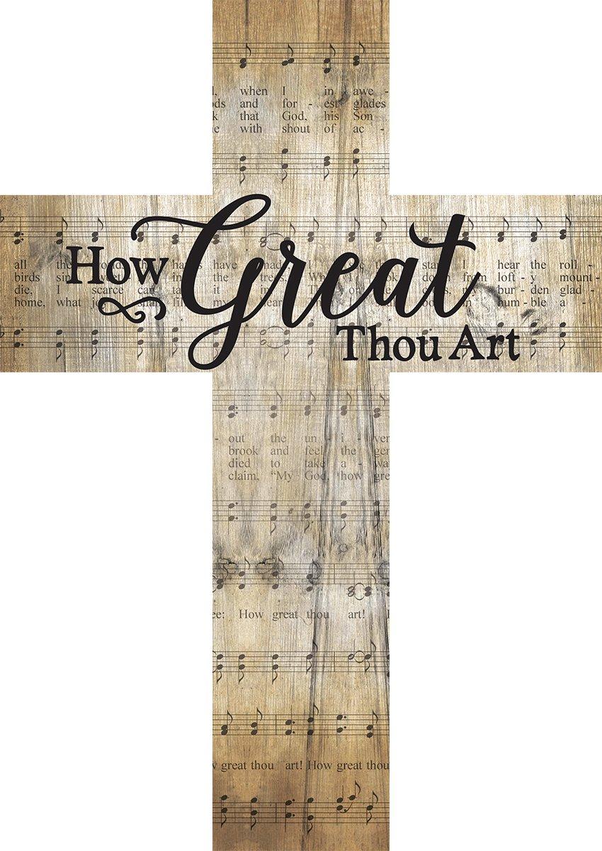 How Great Thou Art Music Sheet Design 12 x 9 Wood Wall Art Cross Plaque by P Graham Dunn (Image #4)