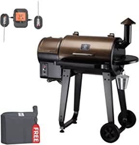 Z GRILLS ZPG-450APRO 2021 Upgrade Wood Pellet Grill & Smoker 8 in 1 BBQ Grill Auto Temperature Control, 450 Sq in Bronze