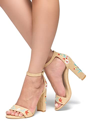 1d317172ad7 Herstyle Women's Mukkai. Embroidere Floral Suede Chunky Heel