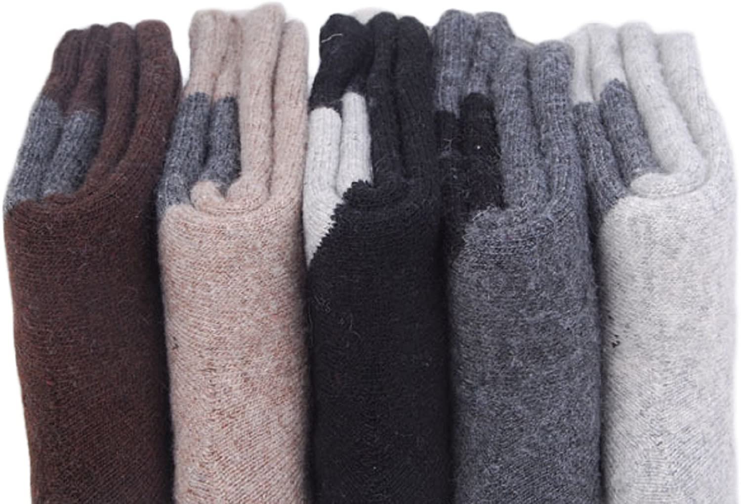 Lian LifeStyle Mens 4 Pairs Pack Extra Thick Cashmere Wool Socks Diamond Size 7-10