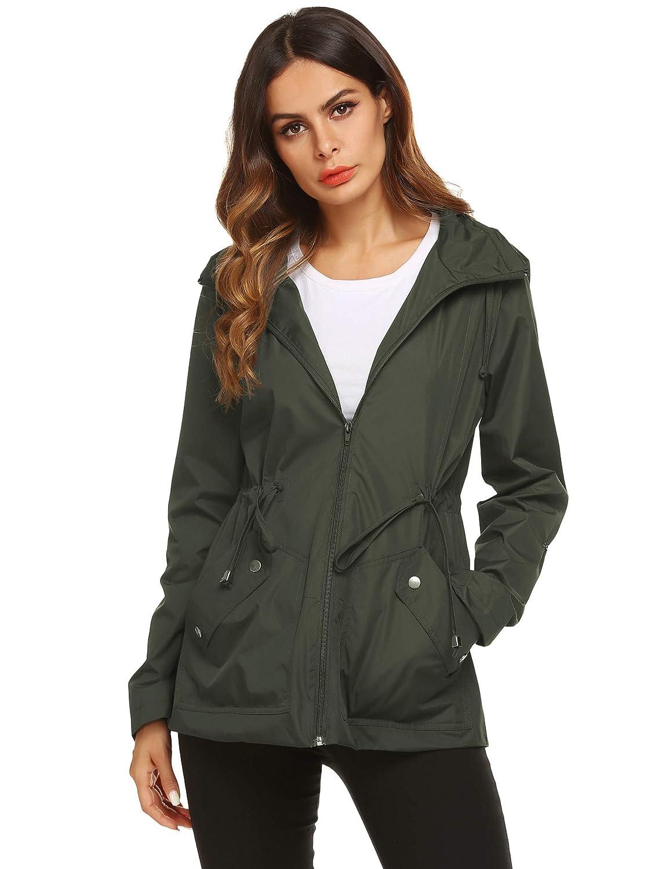 1 Green ZHENWEI Rain Jacket Women Long Raincoat Lined Rain Coat Waterproof Windbreaker for Hiking Travel