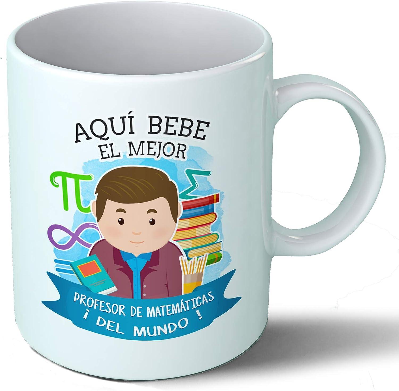 Planetacase Taza Desayuno Aquí Bebe el Mejor Profesor de matematicas del Mundo Regalo Original Ceramica 330 mL ...