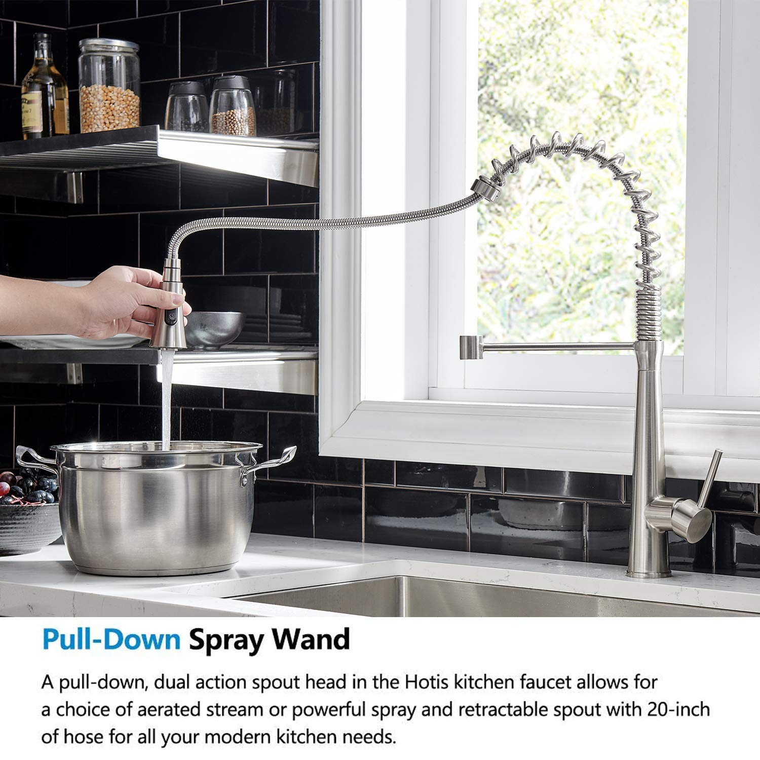 Hotis Commercial Stainless Steel Single Handle Pull Down Sprayer Spring Brushed Nickel Kitchen Faucet, Kitchen Sink Faucet by HOTIS HOME (Image #3)