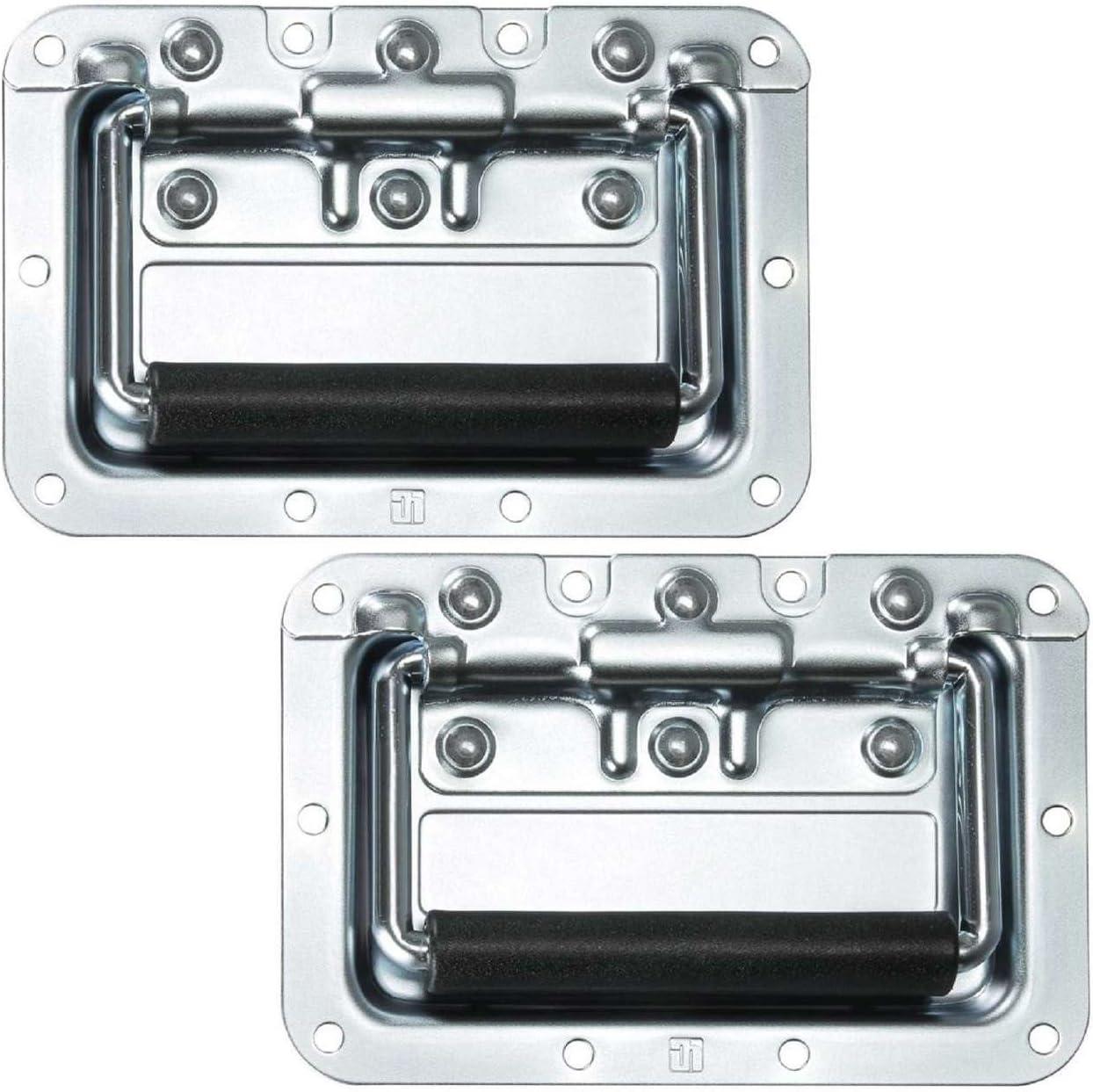 2er Set Klappgriff//Kistengriff gefedert silber in 8 mm Einbauschale Adam Hall Hardware 34082 M2 AH