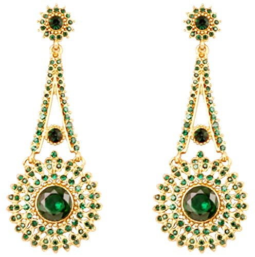 b5b653a2cdf Touchstone Indian Bollywood majestic touch Rhinestone Victorian theme  wedding or evening long bridal chandelier designer jewelry earrings for  women in ...